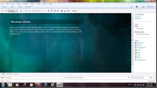 windows writer screenshot