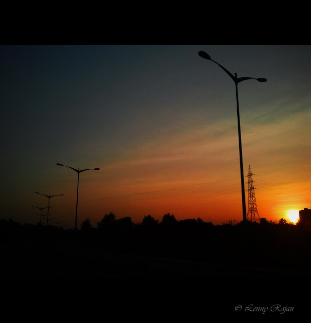 Sunset at Infopark Express Way, Kochi