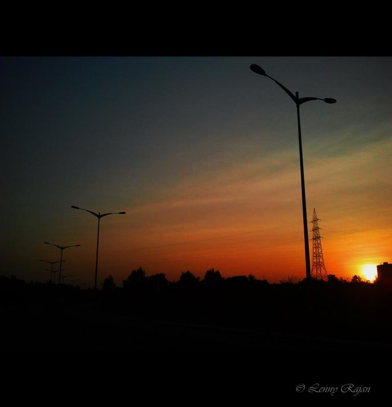 Sunset at Infopark Express Way, Kochi